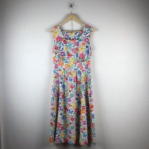 Vintage l Colorful Floral Midi Sundress w/ Pockets